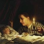 Jeune mère contemplant son enfant endormi (Albert Anker)